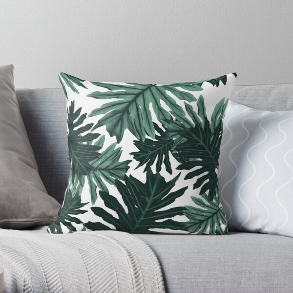 Philo Hope - Tropical Jungle Leaves Pattern #6 #tropical #decor #art  Throw Pillow