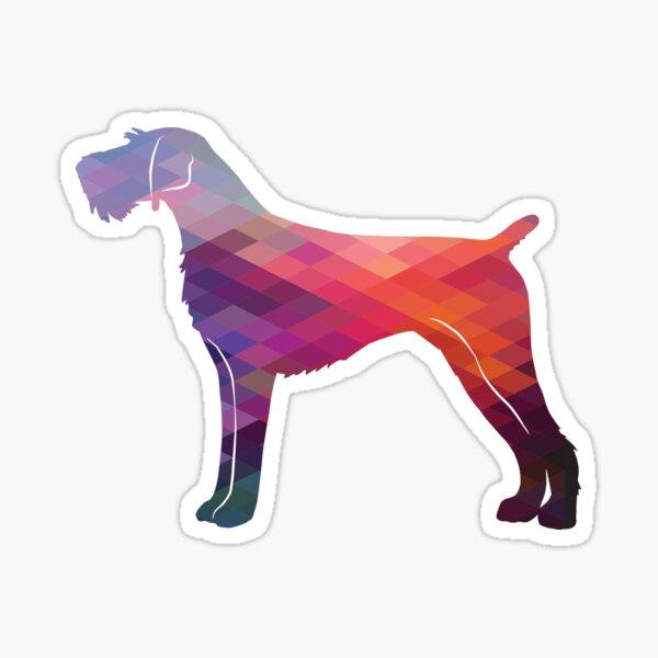German Wire-haired Pointer Dog Breed Silhouette Geometric Pattern in Purple Sticker