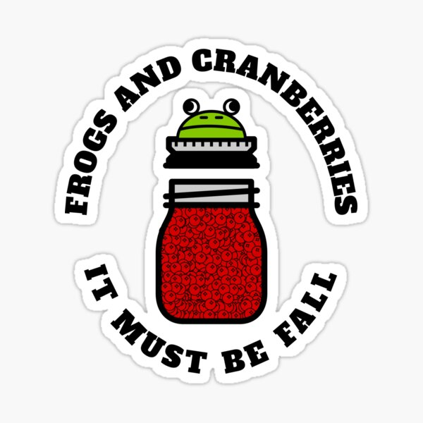 Frogs and cranberries, it must be fall Sticker