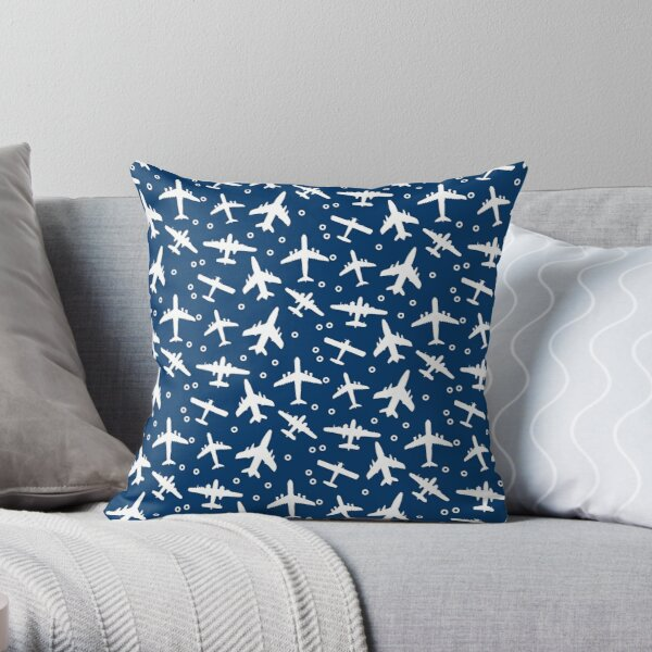 Blue and White Aeroplanes Silhouette Pattern Throw Pillow