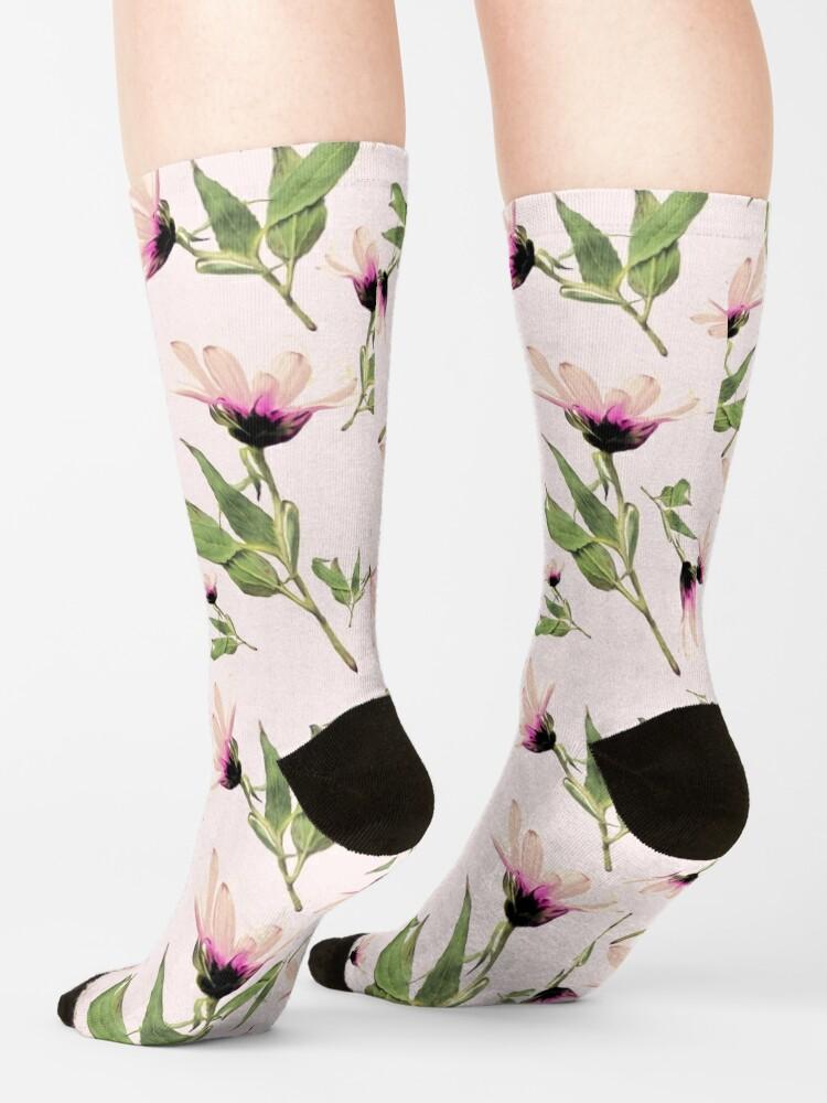 Alternative Ansicht von Rosa Romantik blühen Socken