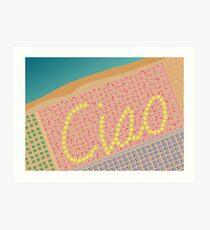 Ciao / Hello Italy Beach Umbrellas - Aerial Italian Art Print