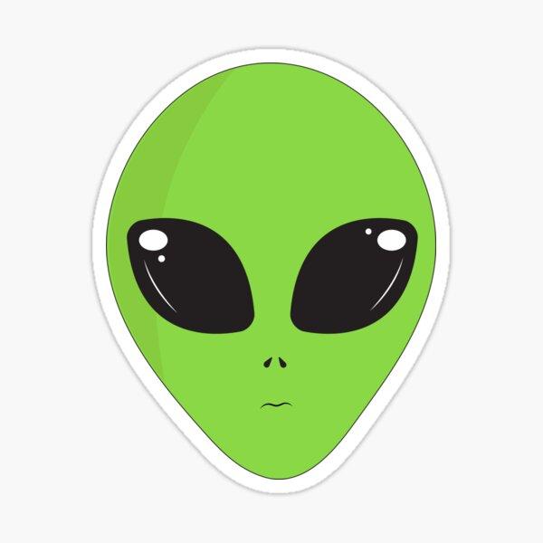 Alien head, green alien dude for all products, green alien big eyes, cartoon alien Sticker