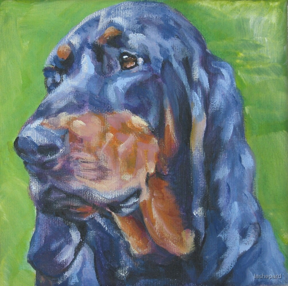 Black and Tan Coonhound Fine Art Painting by lashepard