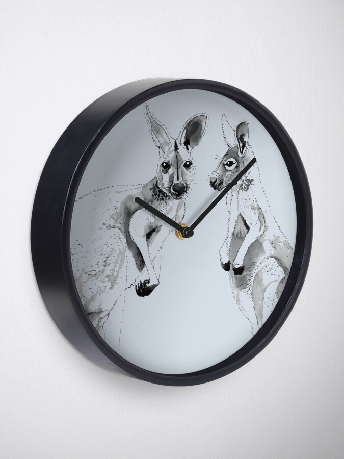Alternate view of Kangaroos Black and White Clock