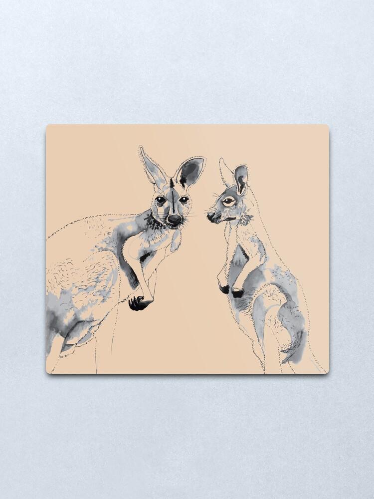 Alternate view of Kangaroos Black and White Metal Print