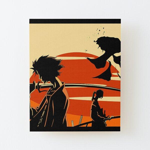Sunset Samurai Impression montée sur bois