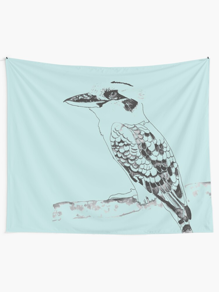 Alternate view of Kookaburra Black and White Wall Tapestry