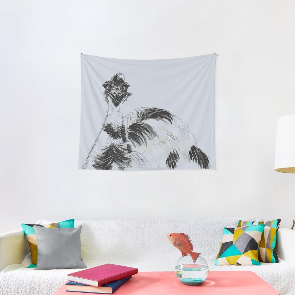 Emu Black and White Tapestry
