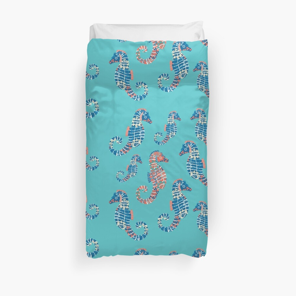 Seahorses Marine Coral Texture Duvet Cover