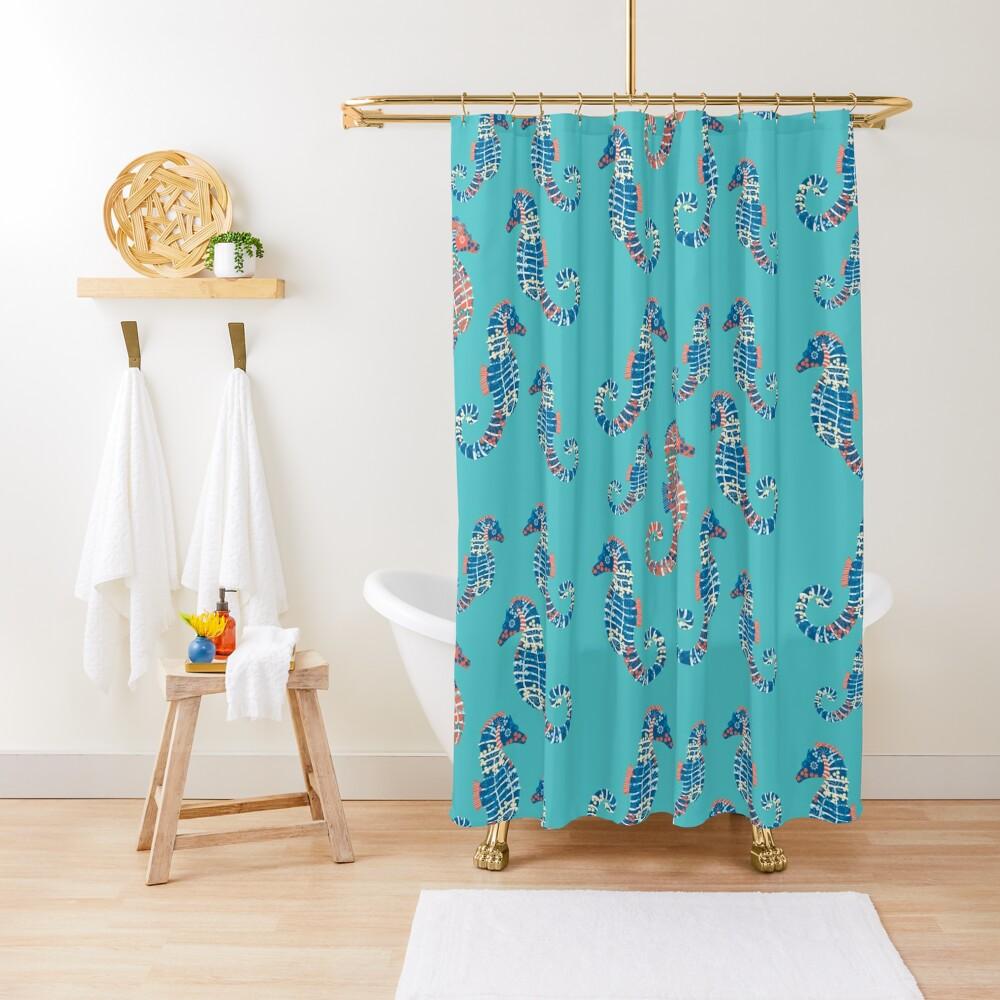 Seahorses Marine Coral Texture Shower Curtain