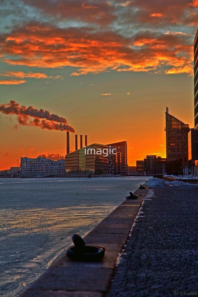 Sunset over Copenhagen Harbor by imagic