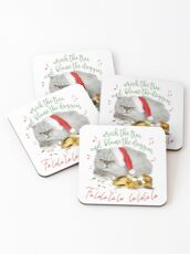 Funny Christmas Cat Falalalala Coasters