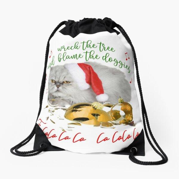 Funny Christmas Cat Falalalala Drawstring Bag