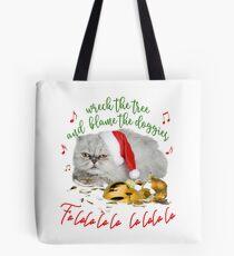 Funny Christmas Cat Falalalala Tote Bag