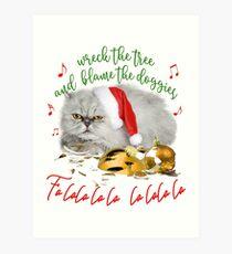 Funny Christmas Cat Falalalala Art Print