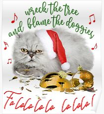 Funny Christmas Cat Falalalala Poster