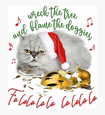 Funny Christmas Cat Falalalala Photographic Print