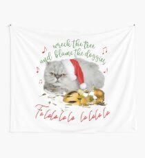 Funny Christmas Cat Falalalala Wall Tapestry