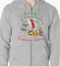 Funny Christmas Cat Falalalala Zipped Hoodie
