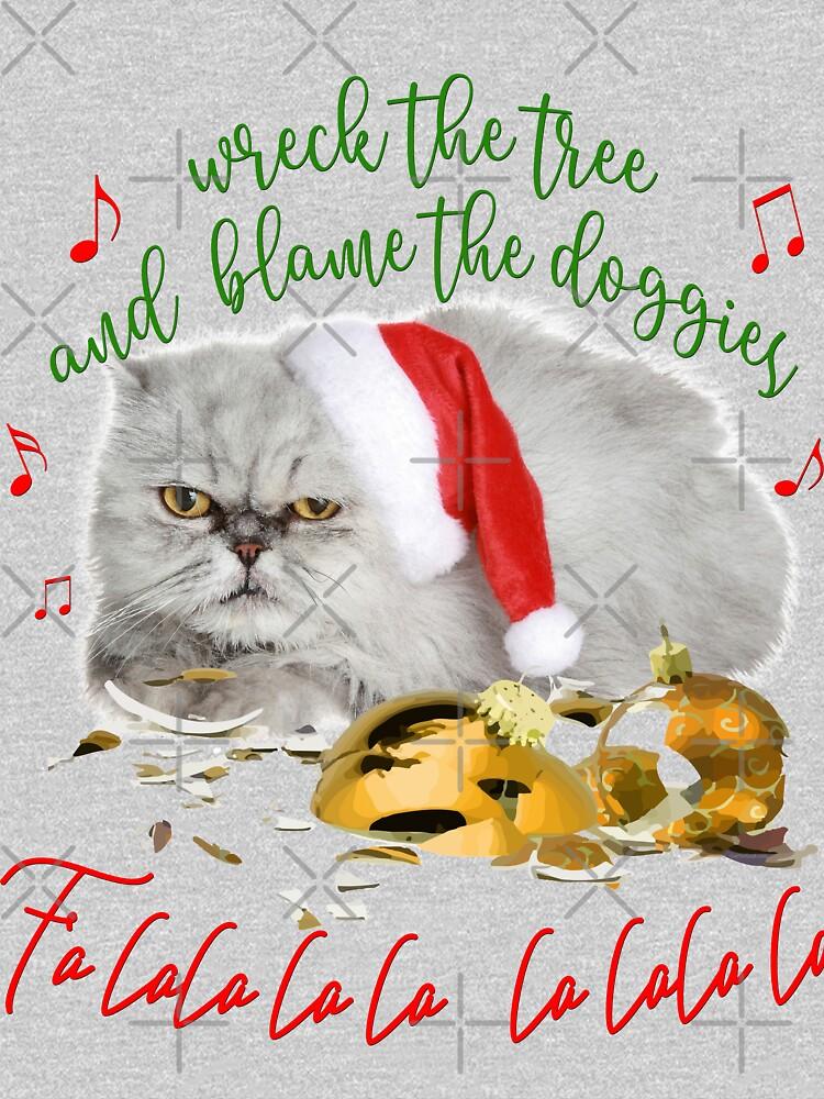 Funny Christmas Cat Falalalala by IconicTee