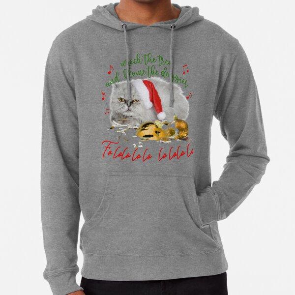 Funny Christmas Cat Falalalala Lightweight Hoodie