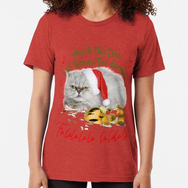 Funny Christmas Cat Falalalala Tri-blend T-Shirt