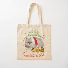 Funny Christmas Cat Falalalala Cotton Tote Bag