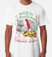 Funny Christmas Cat Falalalala Long T-Shirt