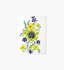 Yellow Flower Spray Art Board Print