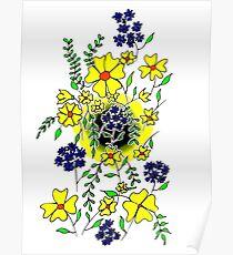 Yellow Flower Spray Poster