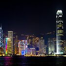 Panoramic Night View of Central Hong Kong by Richie Wessen