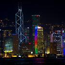 Portrait Night View of Central Hong Kong by Richie Wessen