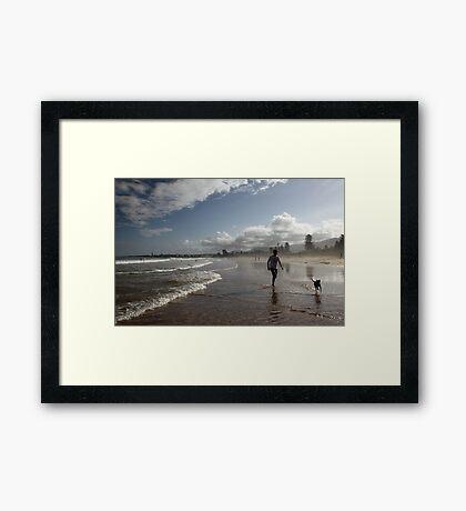 Beach Running Framed Print