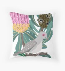 Australian Native Banksia - Australiana decor - Australian Native Bird - Diamond Dove Throw Pillow