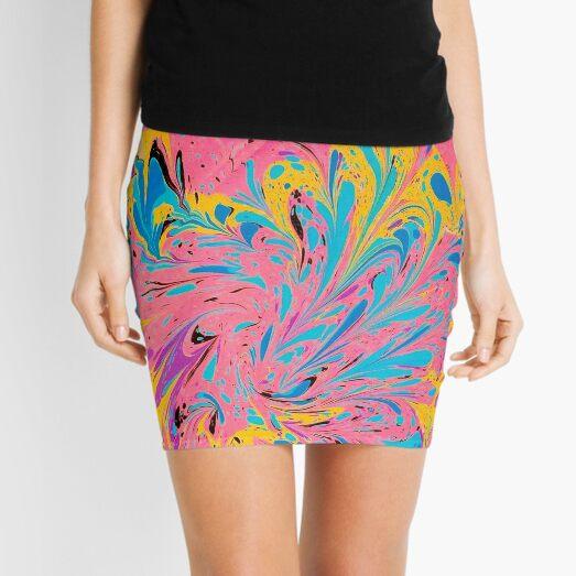 Abstract Bright Pastel Swirl  Mini Skirt