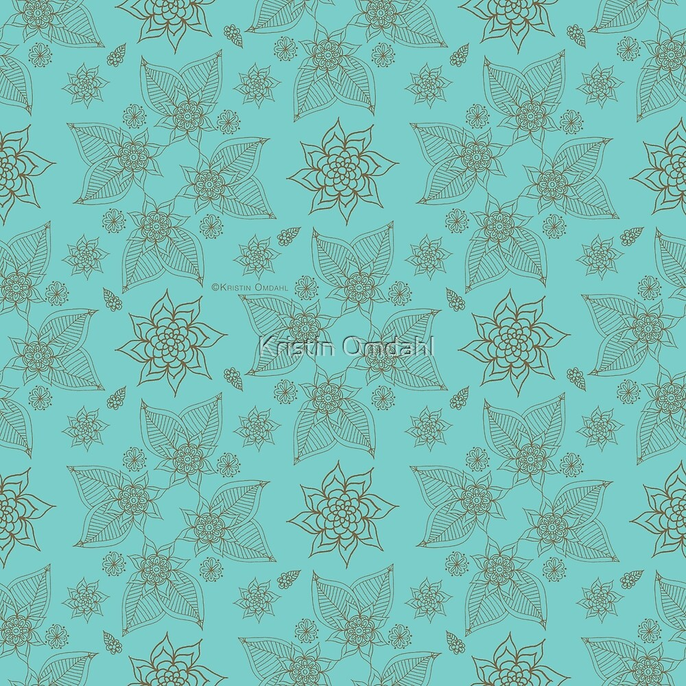Gilded Roses Pale Green Cyan by Kristin Omdahl