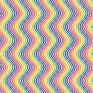 Abstract Rainbow Wavey Lines On White by CreatedProto