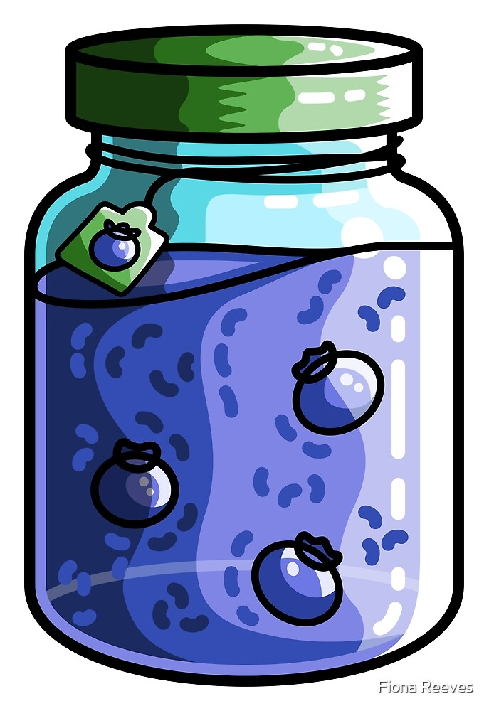Cute Jar of Blueberry Jam by Fiona Reeves