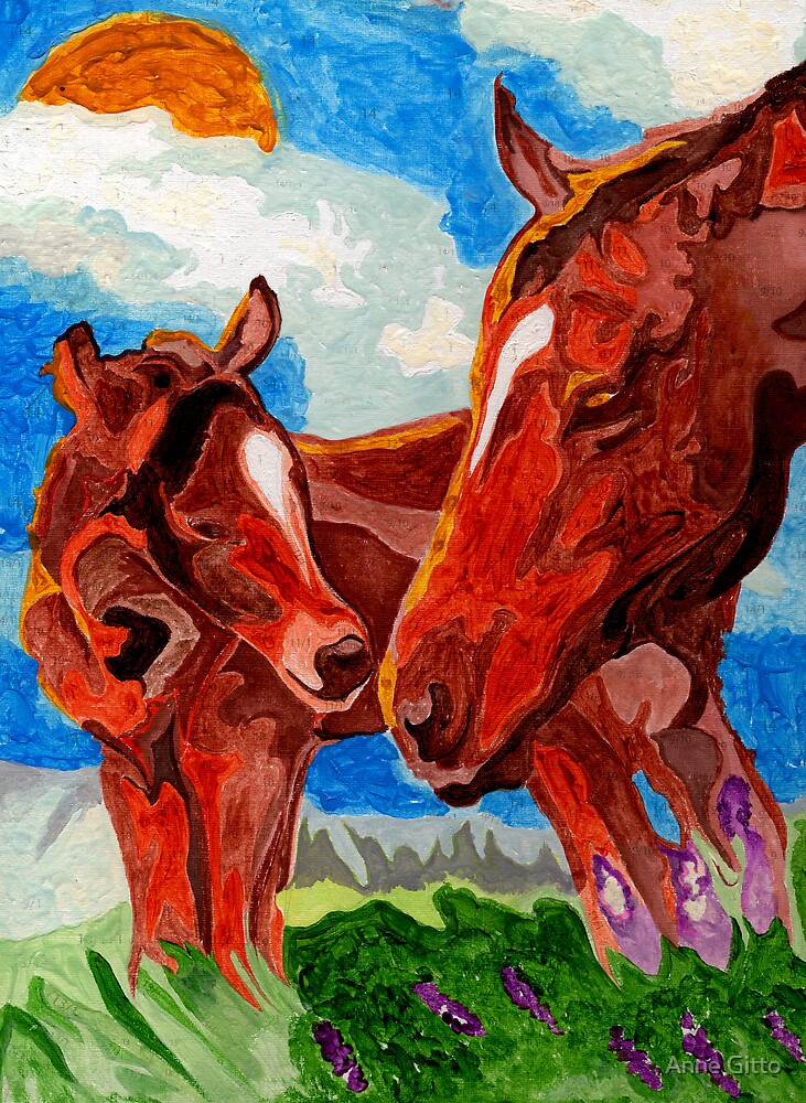 Mama & Baby Horses by Anne Gitto