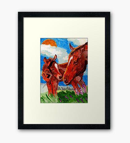 Mama & Baby Horses Framed Print