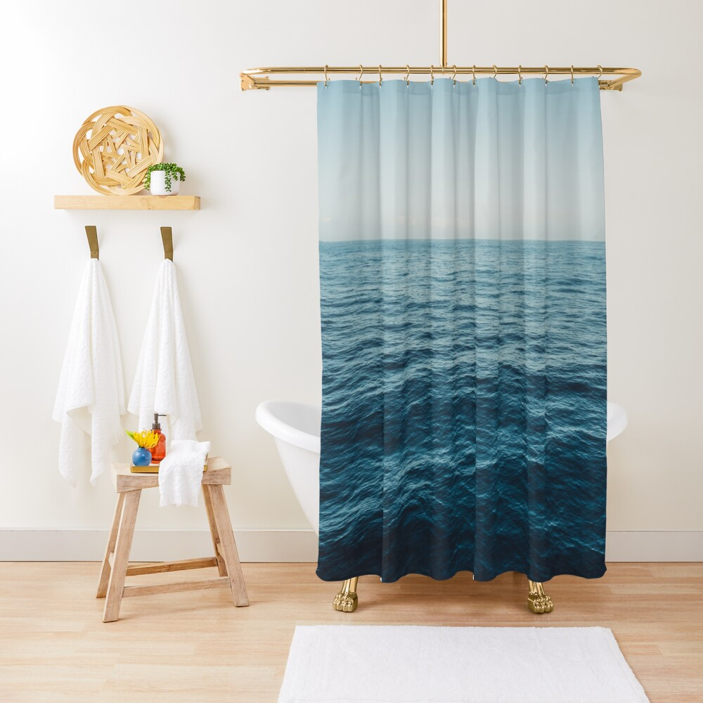 ocean, water, blue sky  -  horizon over water - seascape photography Shower Curtain