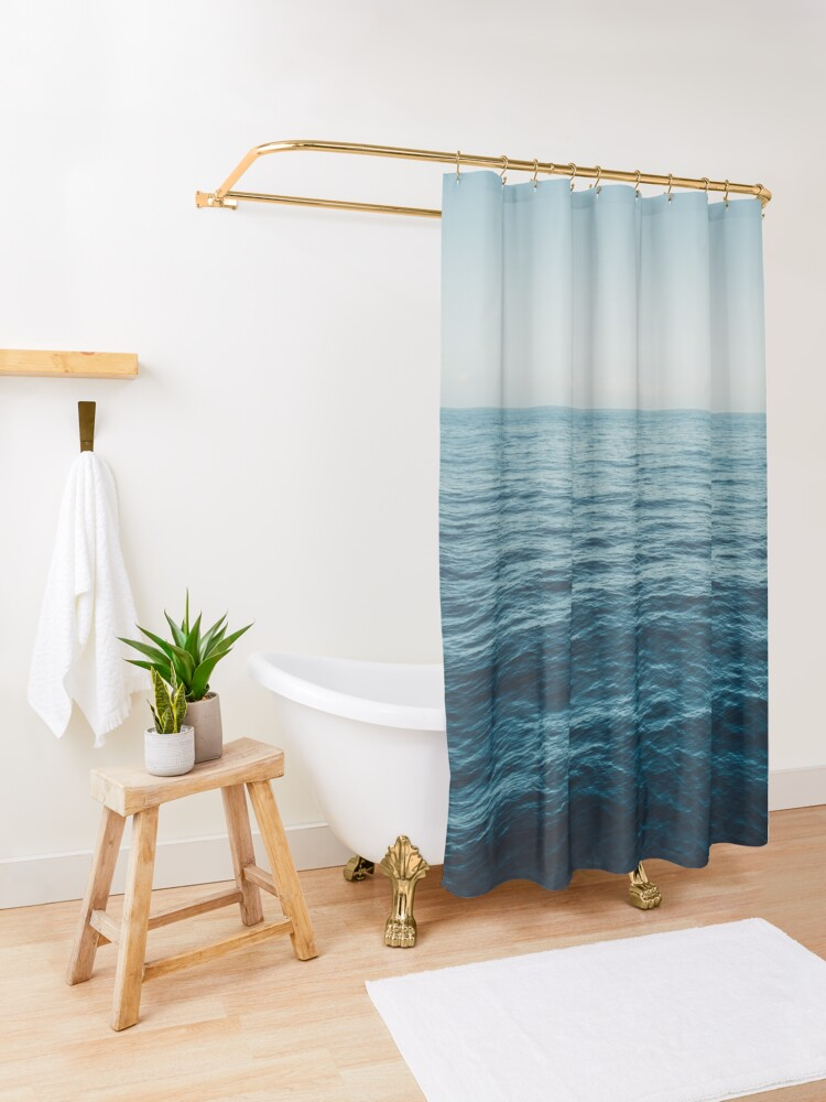 Alternate view of ocean, water, blue sky  -  horizon over water - seascape photography Shower Curtain