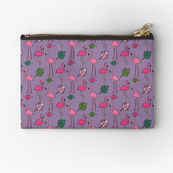 Flamingo print- Purple Zipper Pouch