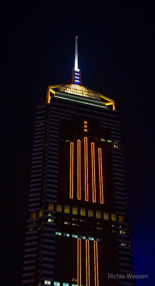 Wan Chai Tower by Night - Hong Kong by Richie Wessen