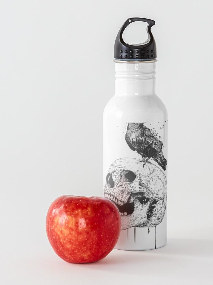 Alternate view of New skull (bw) Water Bottle