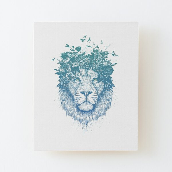 Floral lion Wood Mounted Print