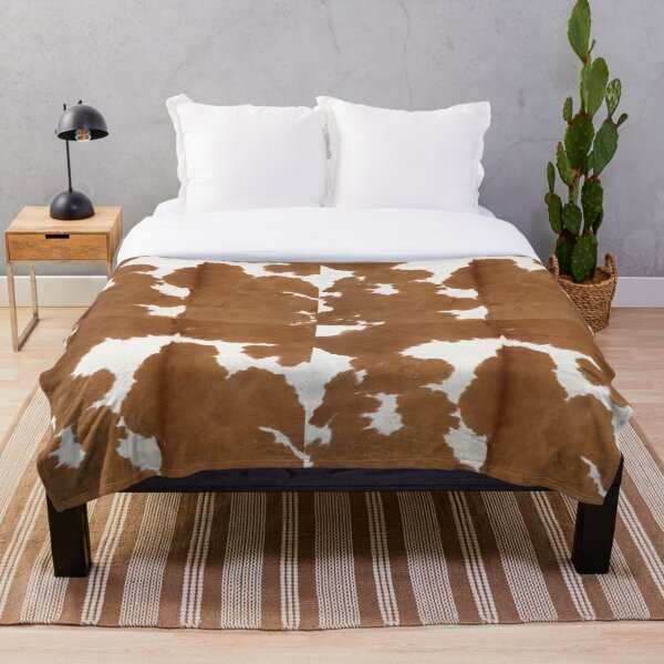 Cowhide tan and white | Texture Throw Blanket