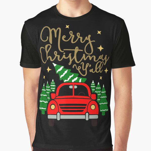Vintage Red Truck with Christmas Trees & Merry Christmas Y'all Graphic T-Shirt