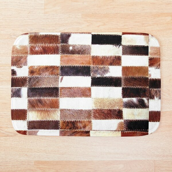 Cowhide Tan Black and White  Patchwork | Texture  Bath Mat
